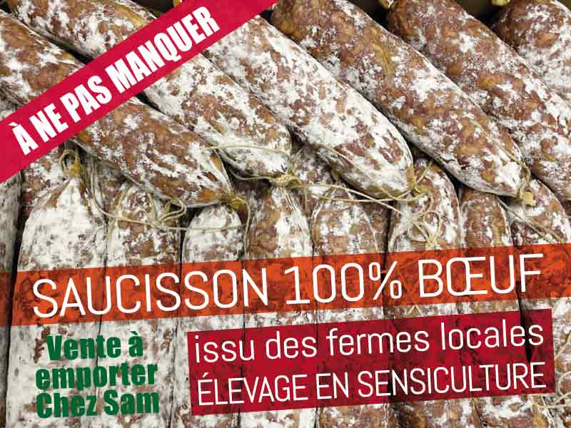 Saucisson 100% bœuf en sensiculture / vente directe